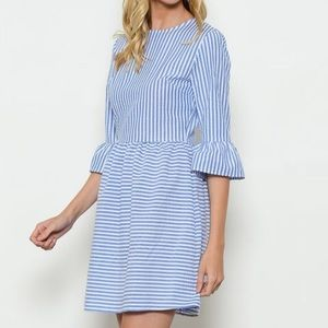 Blue & white striped dress with bell sleeves.